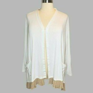 LOGO Lori Goldstein 3X White Knit with Tan Lace